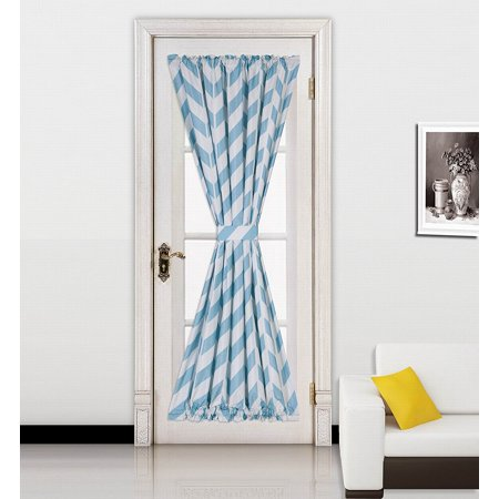 (MEME)1pc TEAL Chevron Printed Mix Color French Door Foam Backing Insulated Thermal Blackout Rod Pocket Curtain Panel with Tieback 55