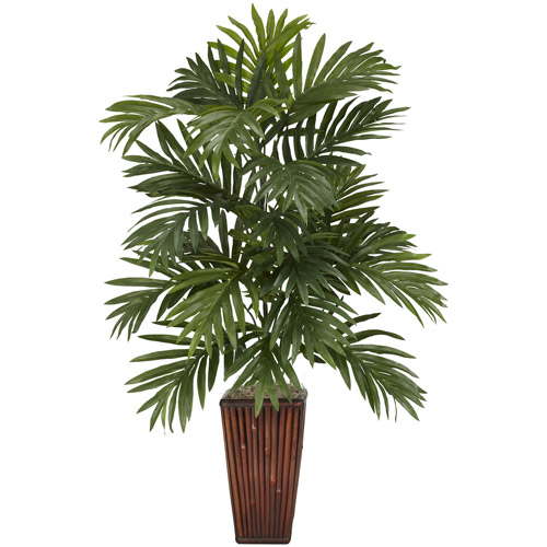 Areca Palm with Bamboo Vase Silk Plant