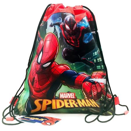 Disney Marvel Comics Spider-Man Drawstring Sling Bags (6pc Set) Novelty Character Fashion Accessories (Character Slings)