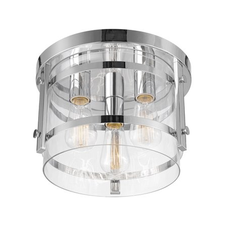 Globe Electric Wexford 3 Light Chrome Flush Mount Ceiling With Clear Gl 60324