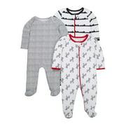 Little Star Organic Newborn Baby Boy Sleep 'N Play Footed Pajamas, 3-Pack