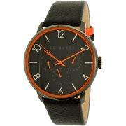 Men's 10029566 Black Leather Quartz Watch