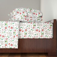 Llama Winter Christmas Animal Holidays 100% Cotton Sateen Sheet Set by Roostery