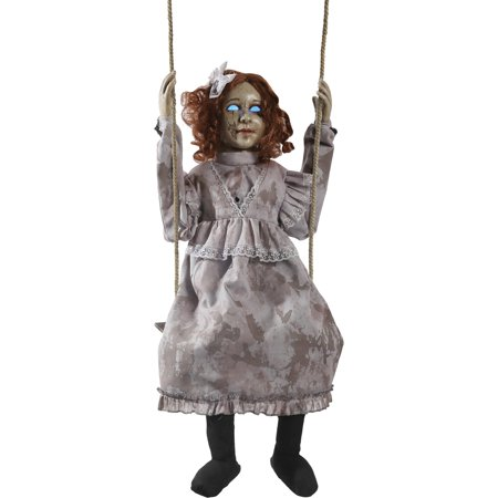 Swinging Decrepit Doll Animated Halloween Decoration - Halloween Outside Decorations Uk
