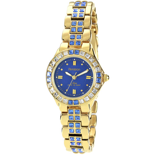 Armitron Sapphire-Colored Swarovski Crystal Accent Gold-Tone Women's Watch