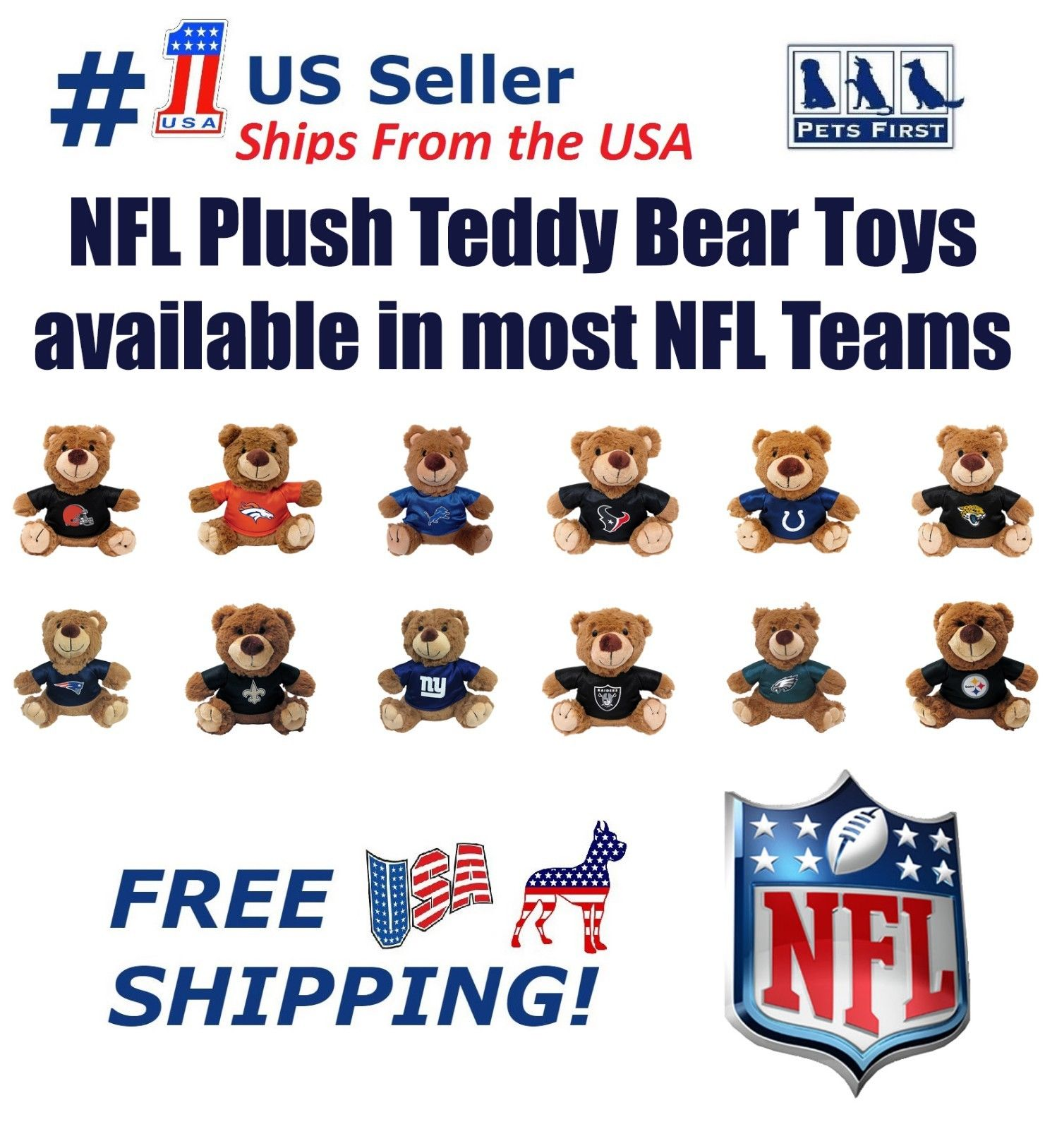 Pets First NFL Buffalo Bills Plush Teddy Bear Toy. Team Jersey & inner SQUEAKER. For Dogs/Cats/Kids/Home