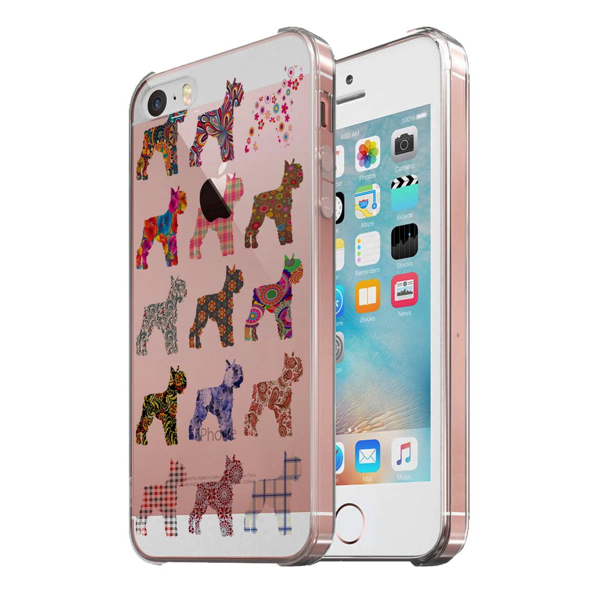 KuzmarK Clear Cover Case fits iPhone SE & iPhone 5 - Schnauzer Dog