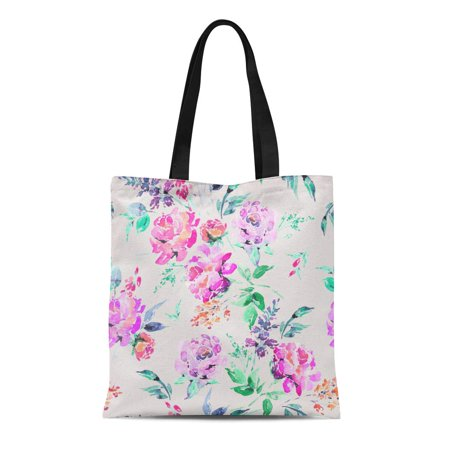 ASHLEIGH Canvas Tote Bag Abstract Watercolor Floral in La Prima Pink Roses Flowers Durable Reusable Shopping Shoulder Grocery Bag