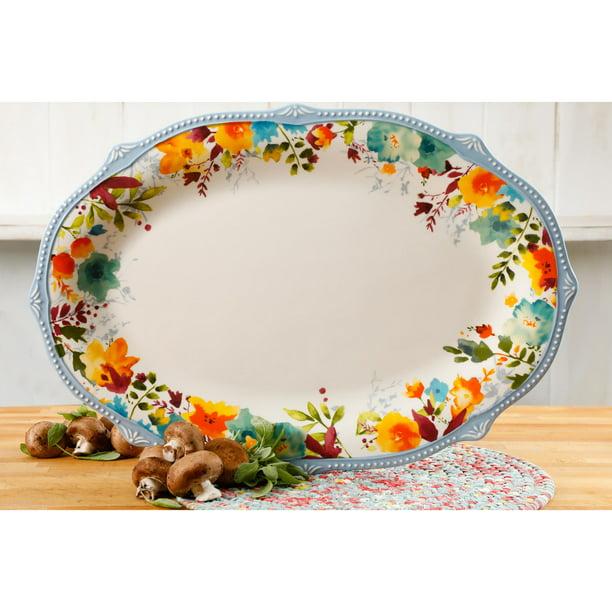Christmas Ceramic Serving Platter Oval Shaped New