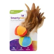Flutter Ball Cat Toy Feather Ball 2 Pack, Flutter Balls a teasingly tempting set of soft balls cat toy with feathers By SmartyKat