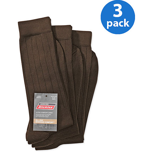 Dickies - Men's Microfiber Nylon Crew Work Socks with Massaging Bars, 3-Pack