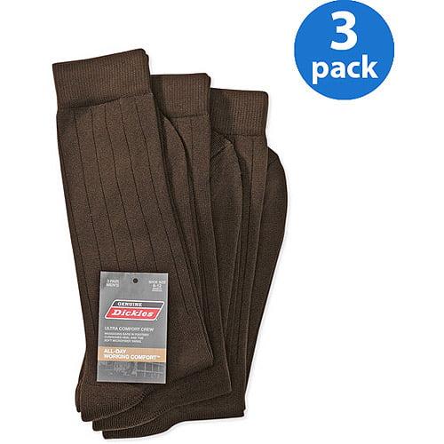 Dickies - Men's Microfiber Nylon Crew Work Socks with Massaging Bars, 3-Pack
