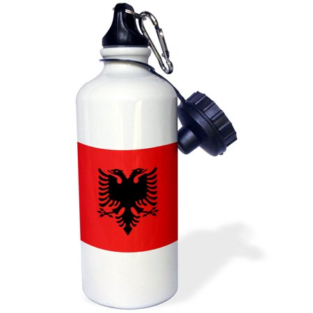 3Drose Flag Of Albania   Albanian Black Double Headed Eagle On Red   Balkans Eastern Europe European World  Sports Water Bottle  21Oz