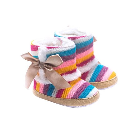 Infant Baby Girls Rainbow Stripes Velvet Cotton Boots Winter Warm Shoes