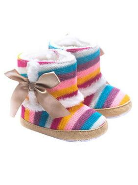 Infant Baby Girls Rainbow Stripes Velvet Cotton Boots Winter Warm Shoes