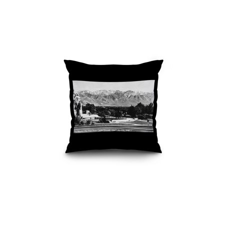 Salt Lake City  Utah   View Of The Wasatch Mountains From The Capitol Grounds  16X16 Spun Polyester Pillow  Black Border