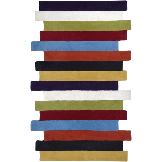 2' x 3' Colorful Stacked Stripes Blueberry and Jet Black Wool Area Throw Rug