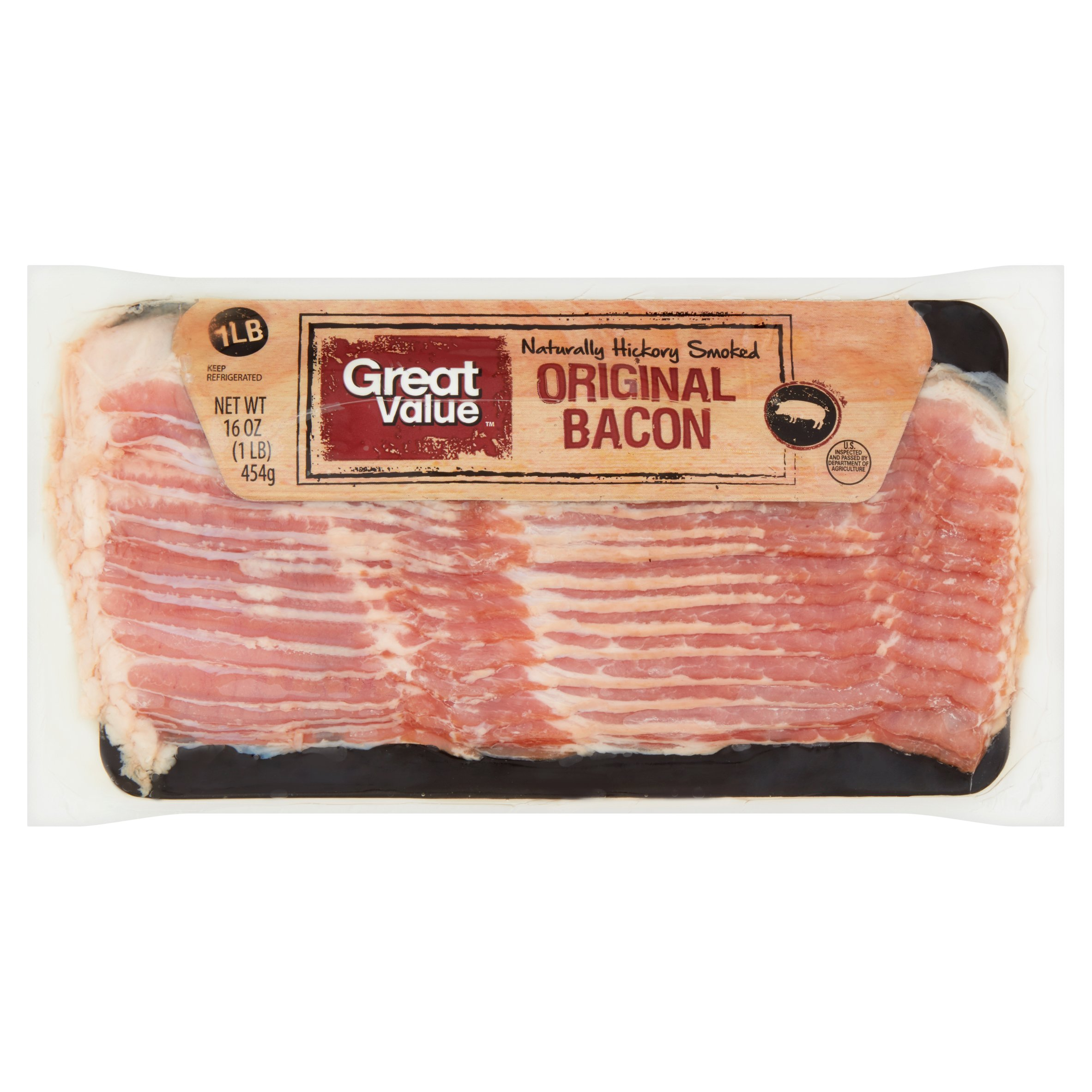 Great Value Naturally Hickory Smoked Original Bacon, 16 oz by Wal-Mart Stores, Inc.