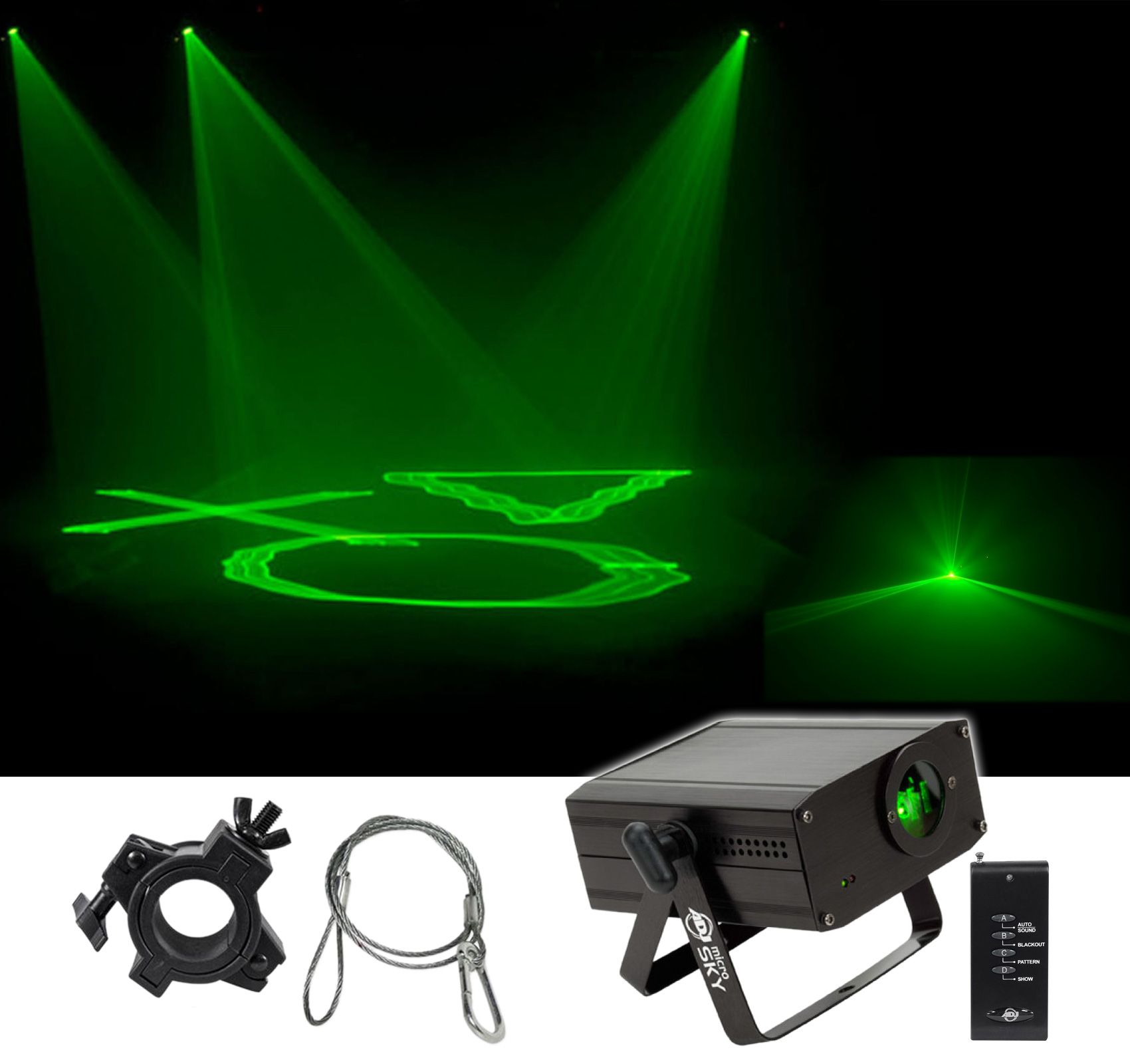 American DJ MICRO SKY Mini Green Laser w Liquid Sky Effect Light +Clamp Security by American DJ