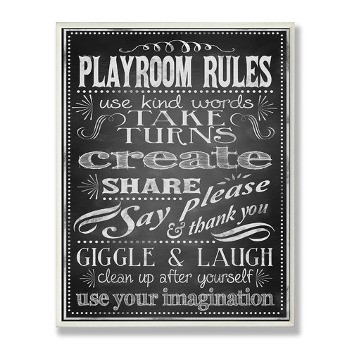 Stupell Industries The Kids Room Black and White Chalkboard-look Playroom Rules Wall Plaque