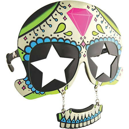 Sugar Skull Sunstache Adult Halloween Accessory (Halloween Sugar Skull Easy)
