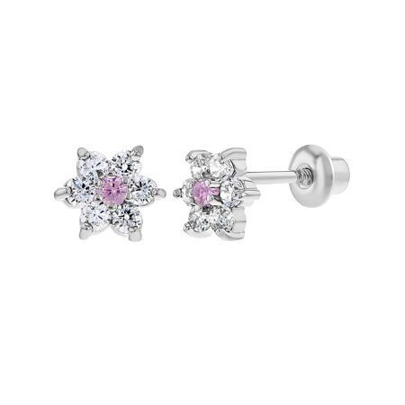 In Season Jewelry Rhodium Plated Light Pink Crystal XS Flower Kids Girls Screwback Earrings 5mm