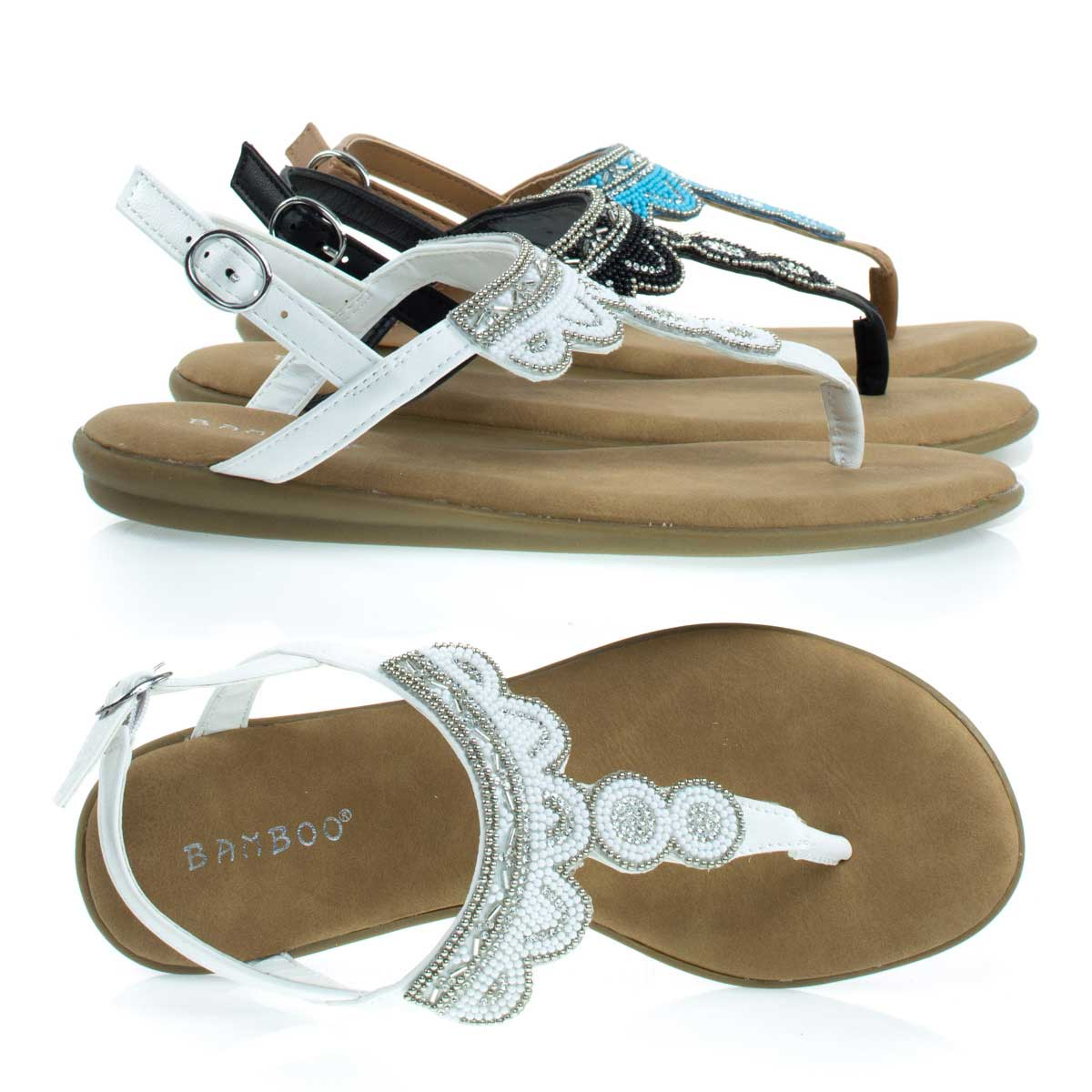 Tundra59 by Bamboo, Comfortable Padded Flat Sandal w Tribal Inspired Beads & Rhinestone