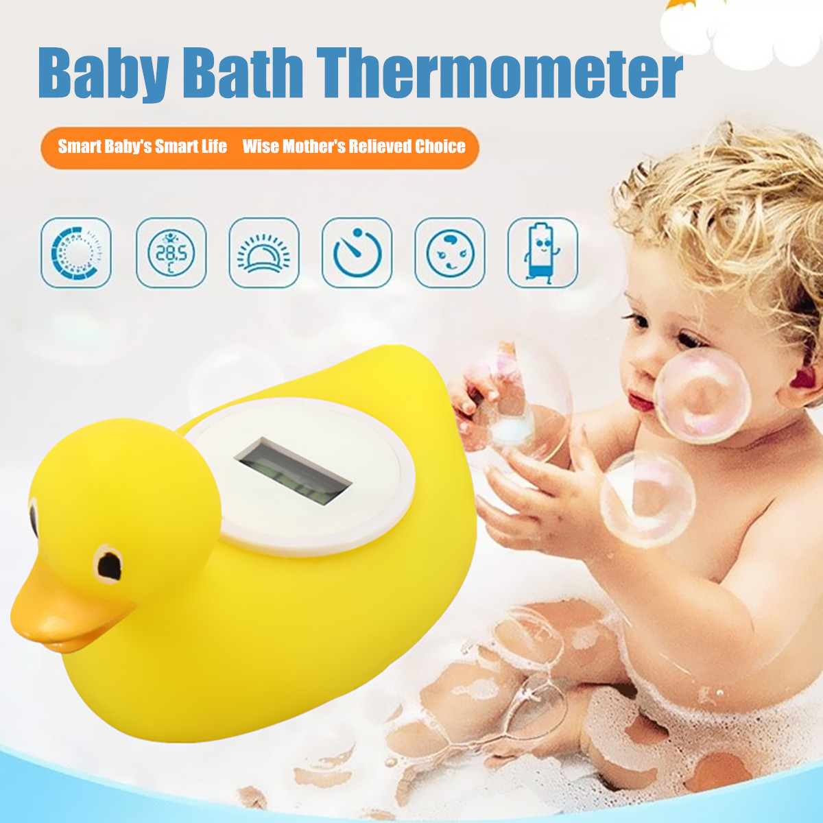 Adorable Digital Baby Bath Thermometer Water Sensor Safety Floating Duck Floating Toy Bathroom Fun