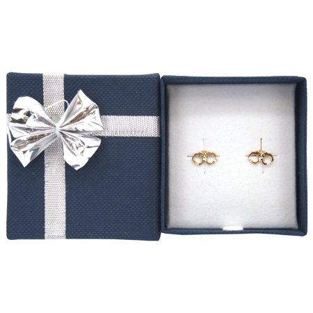 14K Yellow Gold Handcuffs Earrings with Bow Tie Jewelry Gift - Handcuffs Earrings