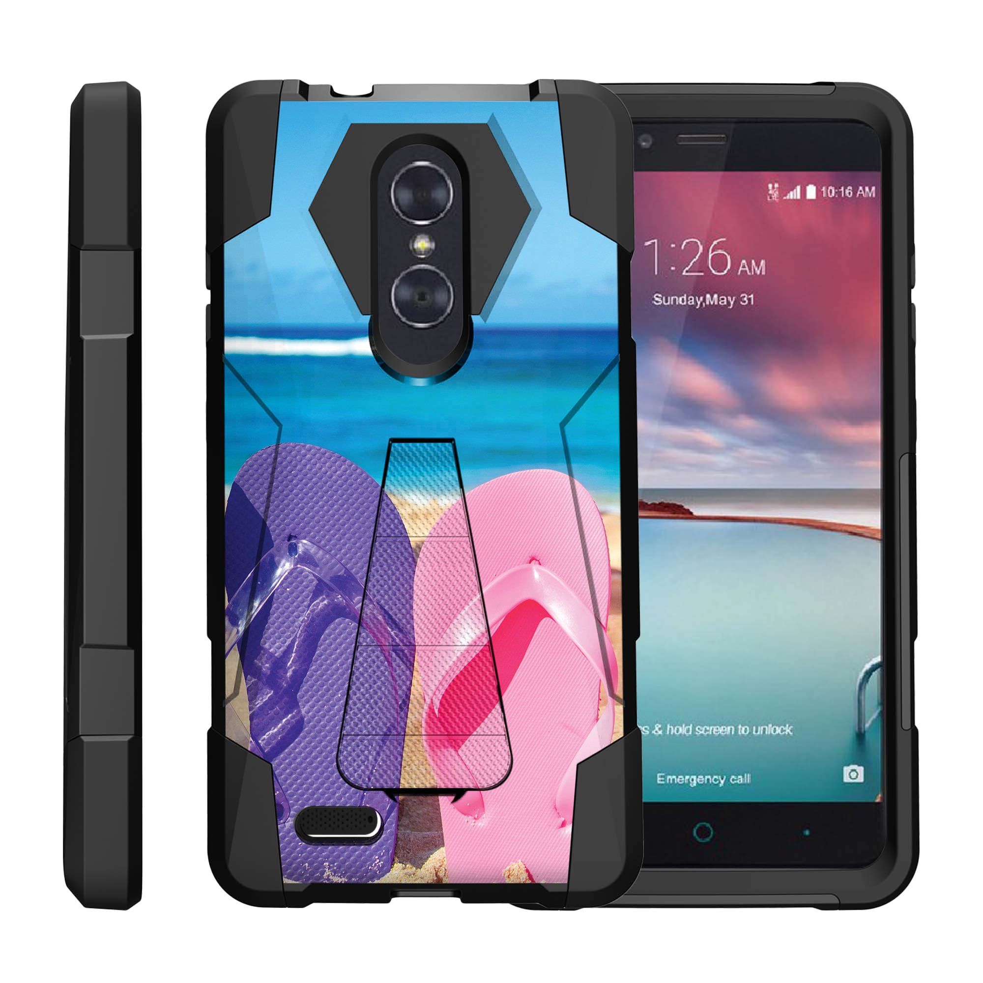 TurtleArmor ® | For ZTE ZMax Pro | ZTE Carry | ZTE Blade X Max [Dynamic Shell] Dual Layer Hybrid Silicone Hard Shell Kickstand Case - Sandal Flipflops