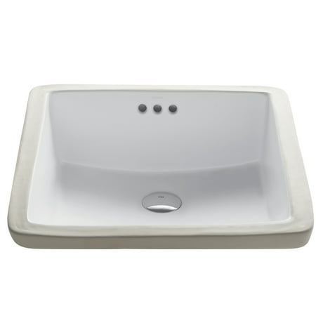 KRAUS Elavo™ 17-inch Square Undermount White Porcelain Ceramic Bathroom Sink with - Undermount Square
