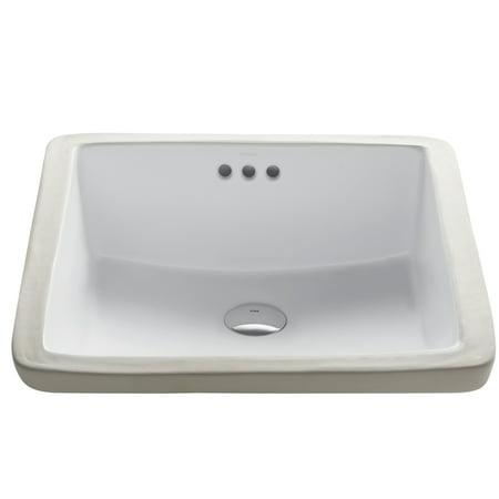 KRAUS Elavo™ 17-inch Square Undermount White Porcelain Ceramic Bathroom Sink with Overflow