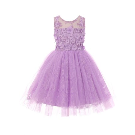 - Girls Lilac 3D Floral Adorned Illusion Tulle Junior Bridesmaid Dress
