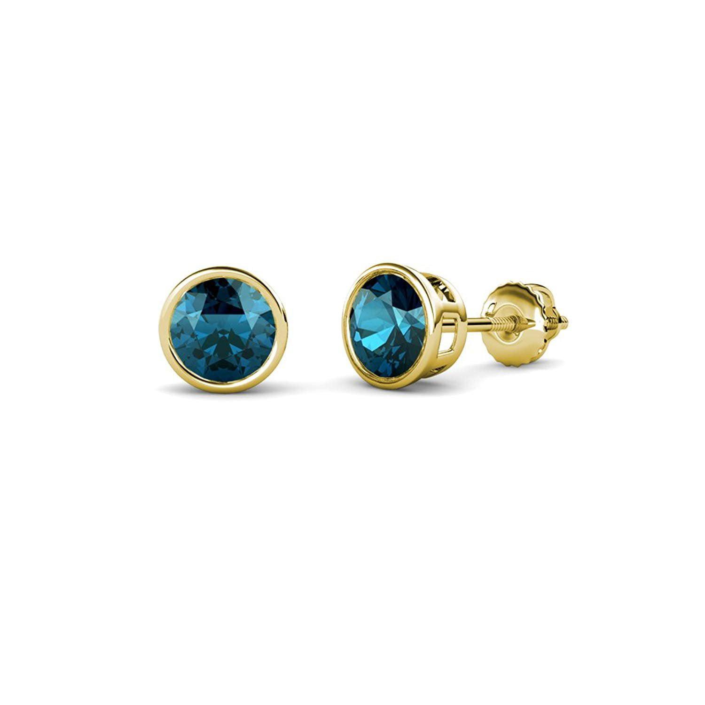 Blue Diamond Bezel Set Solitaire Stud Earrings 1.00 ct tw in 14K Yellow Gold by TriJewels