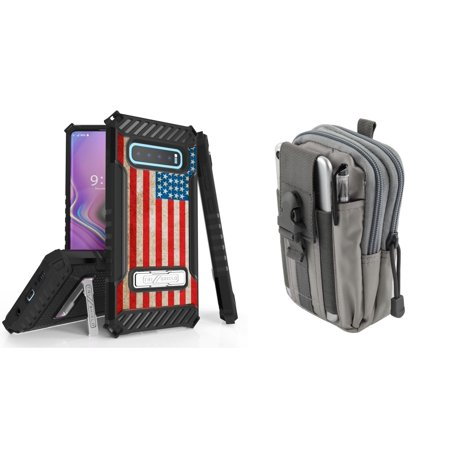 Beyond Cell Military Grade Shockproof Phone Case (Vintage American Flag) Compatible with Samsung Galaxy S10+ Plus with Tactical Pouch (Gray) and Atom (Flag Cell Phone Case)