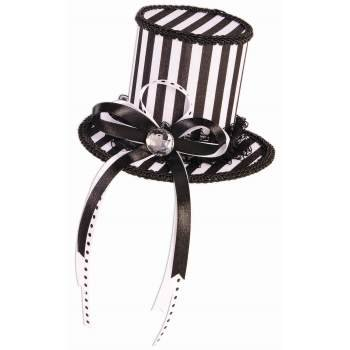 MYSTERY CIRCUS - MINI TOP HAT- BLACK / WHITE (Mini Top Hat With Veil)