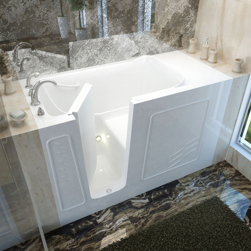 Meditub 30x60 Left Drain White Soaking Walk-In Bathtub