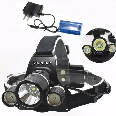Headlamp Flashlight Torch (LED Headlamp, CAMTOA SuperBright 5 LED 5000/6000/8000 Lumens Zoomable Flashlight Headlight Waterproof Head)