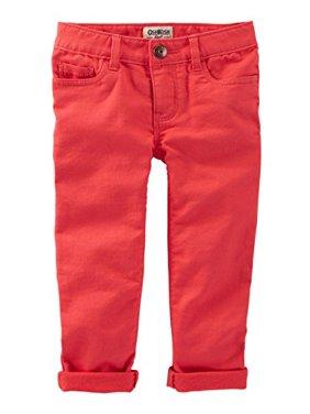 OshKosh B'gosh Big Girls' Knit-Like Skinny Stretch Twills, Red, 7-Kids