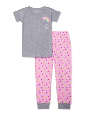 Candies' Girl's Short Sleeve Shoot For the Stars Pajama Shirt & Pink Star Jogger, 2-Piece Pajama Set, Sizes 6-14
