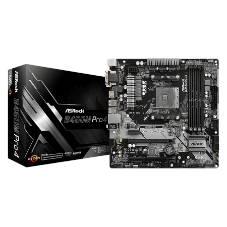 ASRock B450M PRO4 AM4 AMD B450 SATA 6Gb/s USB 3.1 HDMI Micro ATX AMD (Amd Motherboard Chip Set)