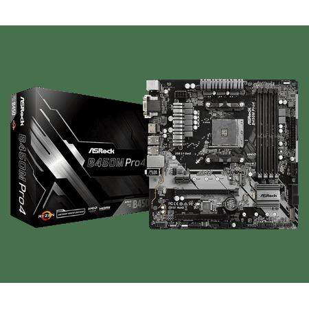 ASRock B450M PRO4 AM4 AMD B450 SATA 6Gb/s USB 3.1 HDMI Micro ATX AMD Motherboard
