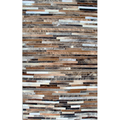 Modern Rugs Patchwork Stripe Brown Area Rug