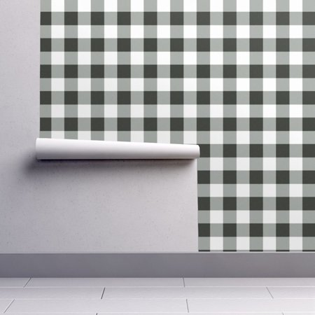 Peel-and-Stick Removable Wallpaper Buffalo Plaid Checks Black Country (Black Cream Wallpaper)