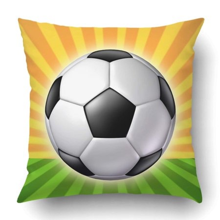 ARTJIA Black Mom Soccer Ball With Sun And Grass Radial White Competition Foot Football Pillowcase Cover Cushion 18x18 inch