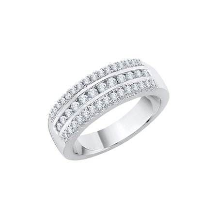 3 Row Diamond Wedding Band in Sterling Silver (1/2 cttw) (I-Color, SI3-I1 Clarity) (Size-5)