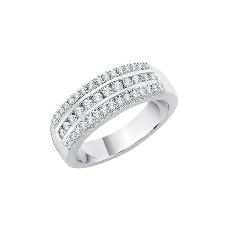 3 Row Diamond Wedding Band in Sterling Silver (1/2 cttw) (I-Color, SI3-I1 Clarity) (Size-6)