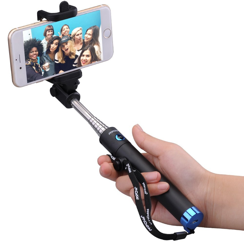 Mpow iSnap X One-piece U-Shape Self-portrait Extendable Selfie Stick with built-in Bluetooth Remote Shutter-Blue