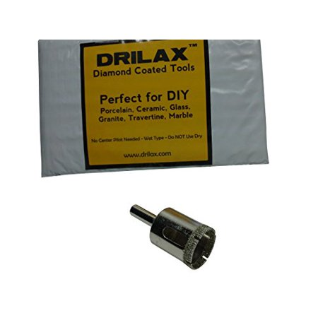 Drilax Diamond Drill Bit Large 1 inch  Size Hole Saw For Glass, Marble, Granite, Ceramic Porcelain Tiles, Quartz, Fish Tank, Stones, Rocks DIY Drilling