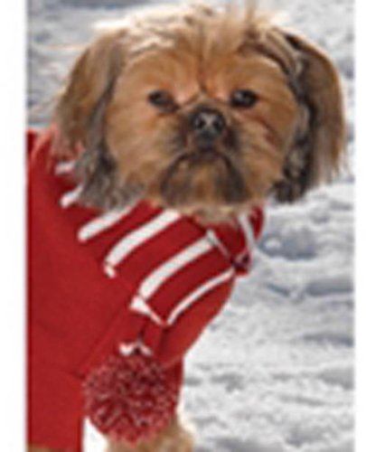 Petrageous Frosty's Pom Pom Dog Pet Scarf Brick Red Large, 35 Petrageous 26 Scarf Large for neck fits Pom Frostys Red 1821 sizes Length Brick Medium dogs up.., By Buckle Down